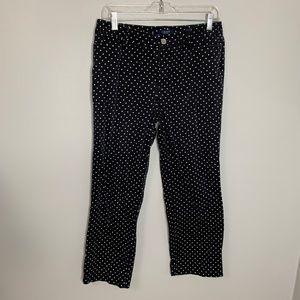 Chaps Black Crop Pants White Polka Dots